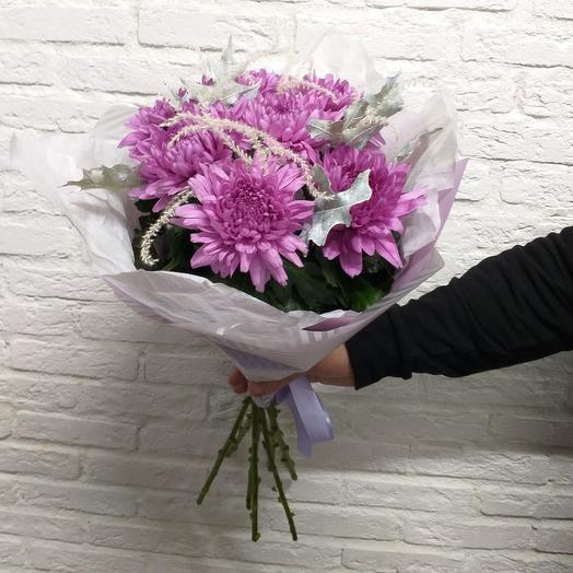Букет из хризантем и стифы: букеты цветов на заказ Flowwow