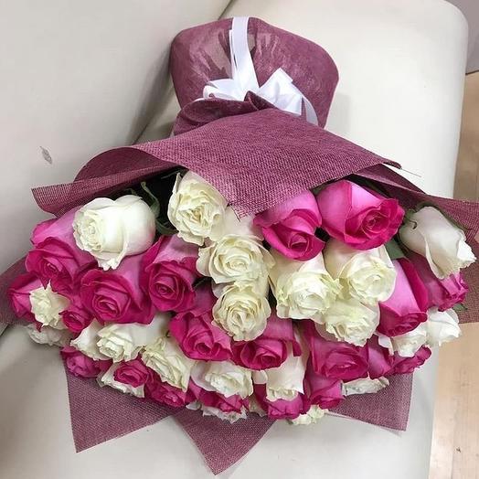 51 роза Эквадор в упаковке