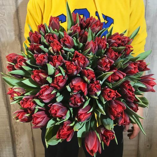 """Букет из 51 красного тюльпана """"Red princess"""""""