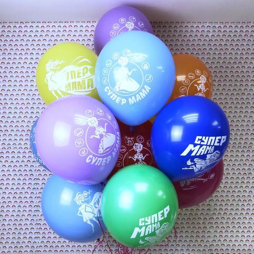 Воздушные шарики «Супер Мама»: букеты цветов на заказ Flowwow