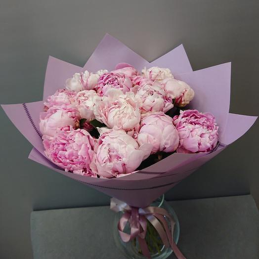 Пионы 15 Шт в розовой упаковке