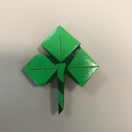 "Значок Prostowood ""Клевер оригами"""