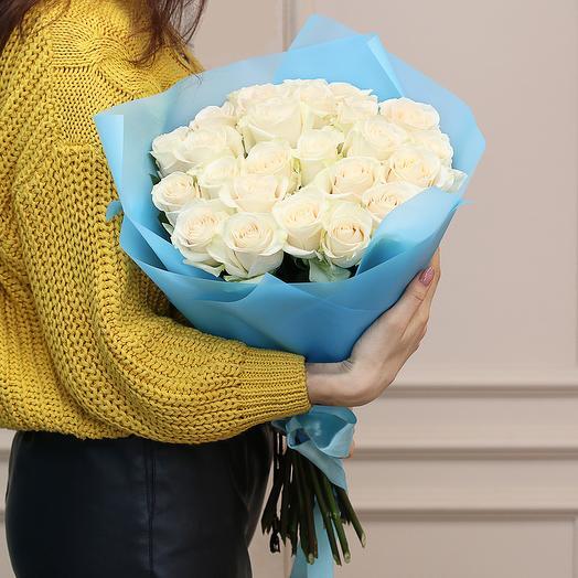 25 белых роз 50 см Эквадор