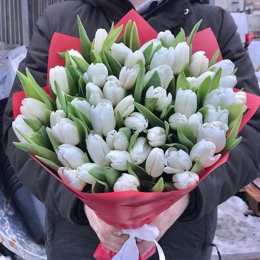 Букет из 51 белоснежного тюльпана