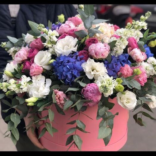 Large Box with peonies hydrangeas peony roses
