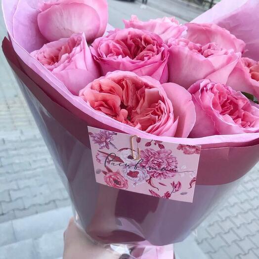 Моно из 9 пионовидных роз ПинкЭкспрешн