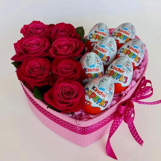 Набор Розы и Kinder Surprise
