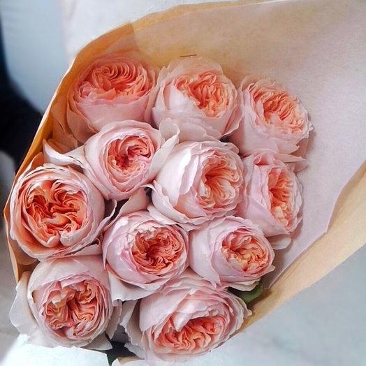 11 персиковых пионовидных роз Девида Остина: букеты цветов на заказ Flowwow