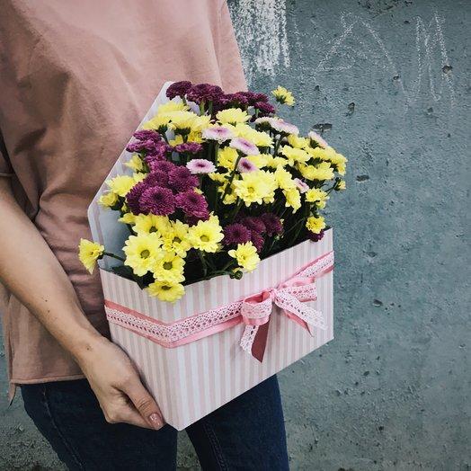 Конверт с хризантемой: букеты цветов на заказ Flowwow