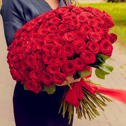 Букет из 101 розы (60см): букеты цветов на заказ Flowwow