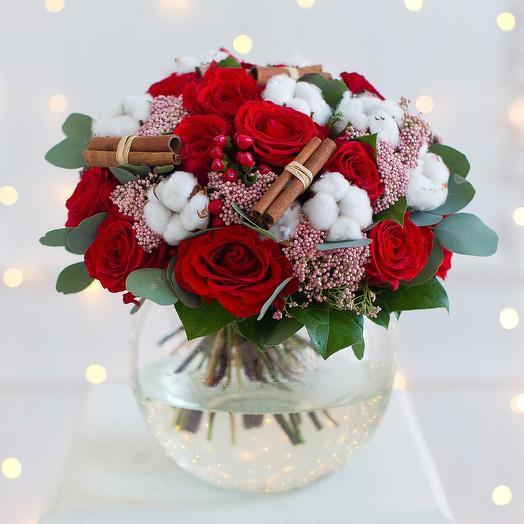 Зимний букет с хлопком и корицей: букеты цветов на заказ Flowwow