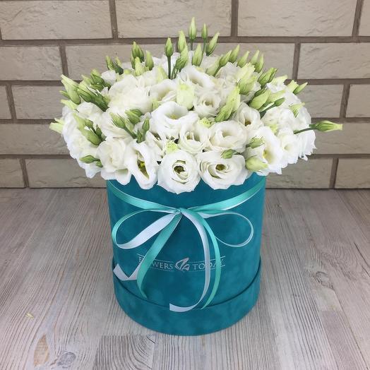 Эустомы в бархатной коробке: букеты цветов на заказ Flowwow
