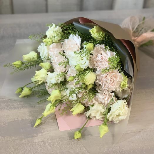 """Букет из эустомы и диантусов """"Брют"""": букеты цветов на заказ Flowwow"""