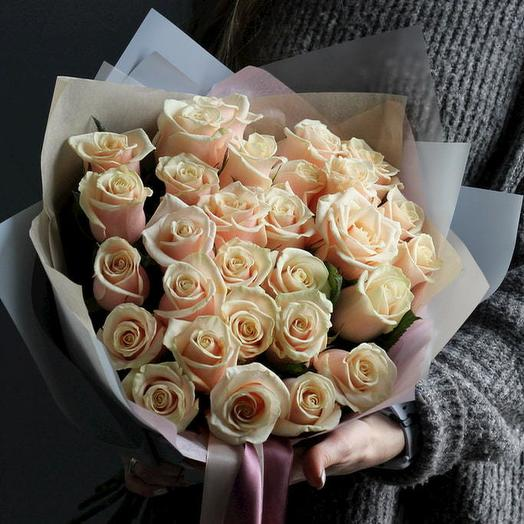 """Букет из роз """"Крем брюле"""""""
