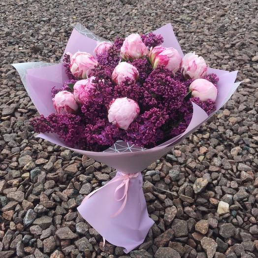 Пионы с сиренью: букеты цветов на заказ Flowwow