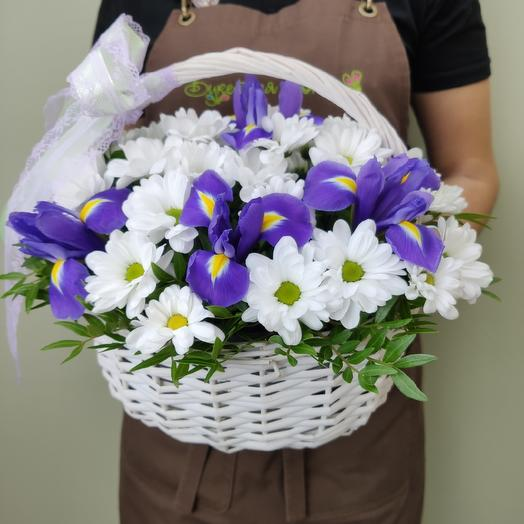 Basket with irises and chrysanthemums