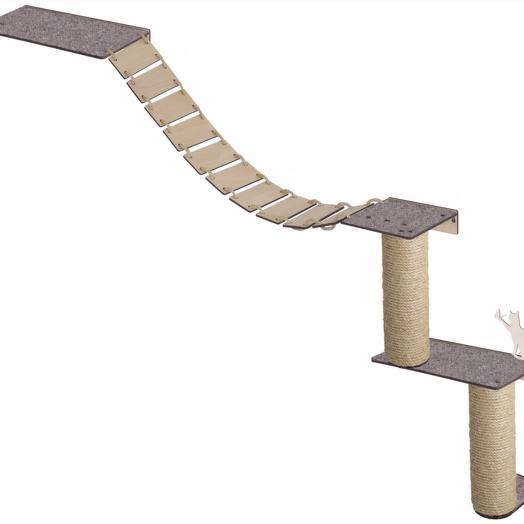 Настенный игровой комплекс для кошек Хвостович 129, цвет: бежевый