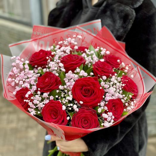 Букет Роз и Гипсофилы