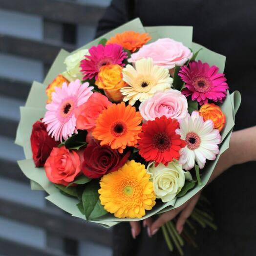 Букет Гермини Микс с розами