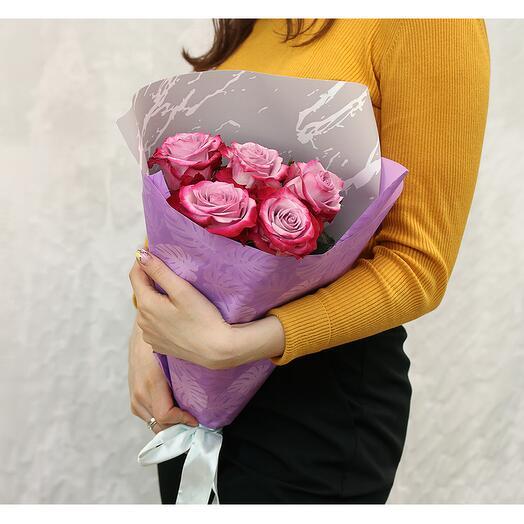 Букет из 5 сиреневых высоких роз premium 70 см (Эквадор)