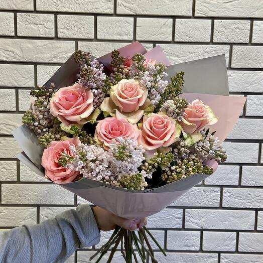 Букет из Сирени и нежно-розовых роз