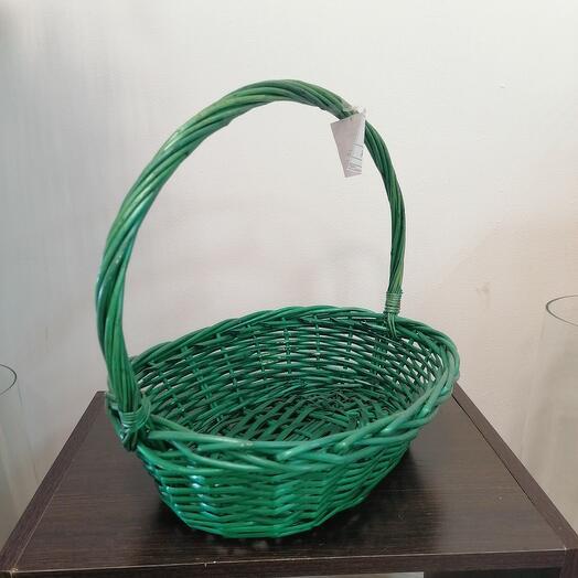 Корзина овал ива крашенная зеленая