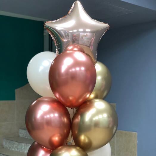 Фонтан из 10 шаров розовое золото