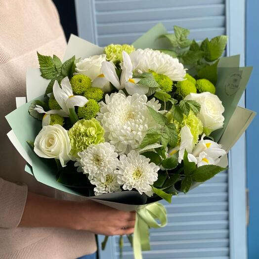 Mint bouquet with white irises