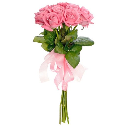 "Bouquet ""pink roses 11"" with pink bow. Code 160196: flowers to order Flowwow"