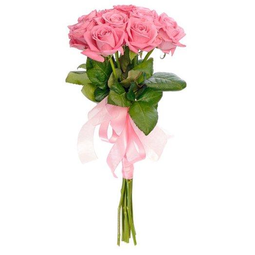 Букет 11 розовых роз с розовым бантом Код 160196