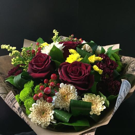 Сборный букет из роз и хризантем: букеты цветов на заказ Flowwow