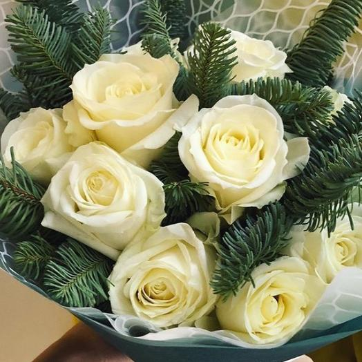 """Зимний вечер"" букет из 11 роз: букеты цветов на заказ Flowwow"