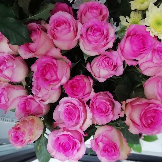 Розы розовые 25 шт: букеты цветов на заказ Flowwow