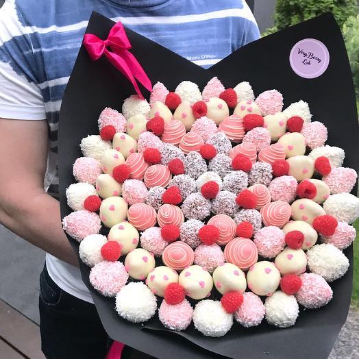 Букет из клубники в бельгийском шоколаде с малиной: букеты цветов на заказ Flowwow