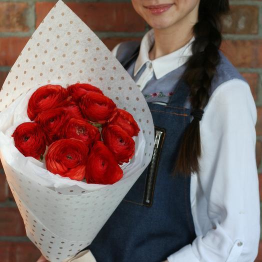 Букет алых ранункулюсов: букеты цветов на заказ Flowwow