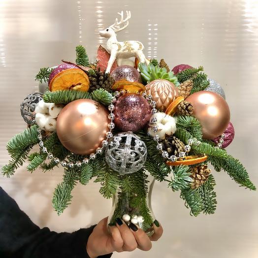 Новогодняя композиция: букеты цветов на заказ Flowwow