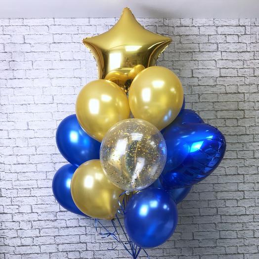 Воздушные шарики «Синее золото»: букеты цветов на заказ Flowwow