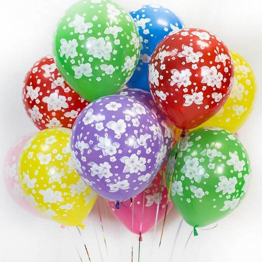 11 helium balloons with flowers