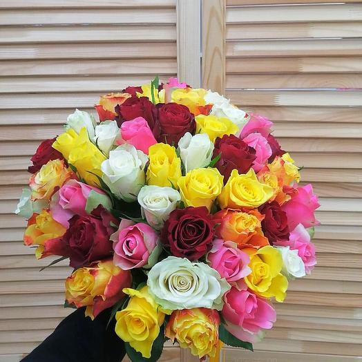 51 роза микс 40 см
