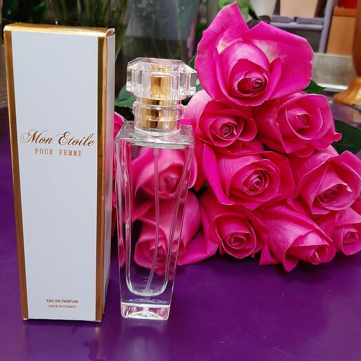 """11 розовых роз и Парфюм 28 """"Ее величиство элегантность"""" 50ml"""