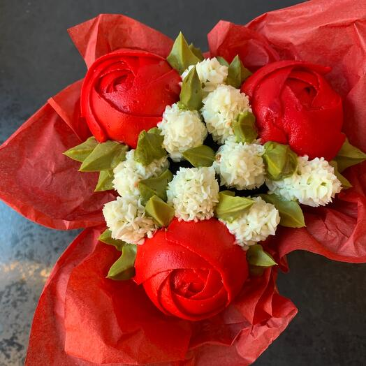 Цветочные капкейки в коробке и кашпо красного цвета пионы с гиацинтами 3 шт