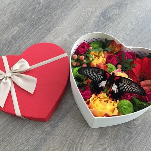 коробка с цветами и живой бабочкой