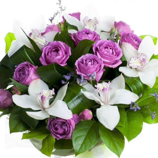 Букет из орхидеи и пионовидной розв: букеты цветов на заказ Flowwow