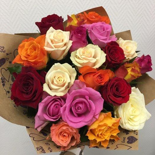 Ассорти из 21 голландской розы в крафте: букеты цветов на заказ Flowwow