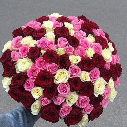 Букет из 101 розы 3-х цветов