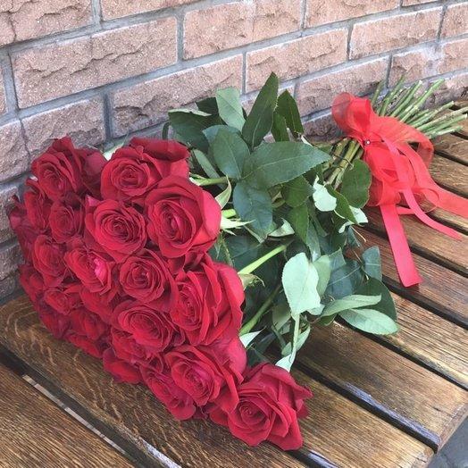 25 красных роз Для нее: букеты цветов на заказ Flowwow