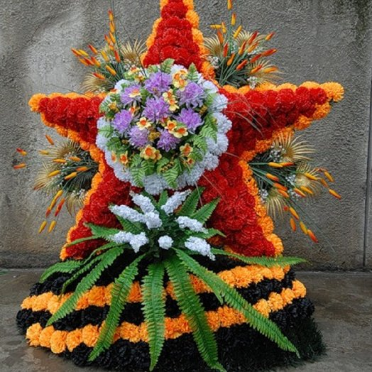 Победная ЗВЕЗДА из СВЕЖИХ цветов: букеты цветов на заказ Flowwow