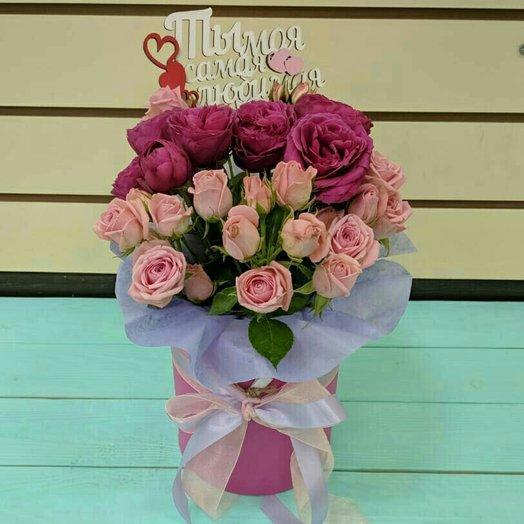 Шляпная коробочка с кустовой розой: букеты цветов на заказ Flowwow