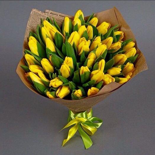 Желтые тюльпаны 49шт: букеты цветов на заказ Flowwow