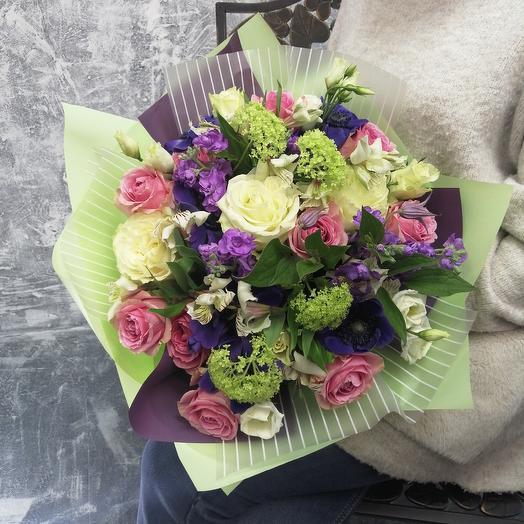 """Букет из маттиолы, анемонов, роз """"Полёт души"""": букеты цветов на заказ Flowwow"""